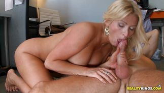 Delectable blond Ingrid Swenson blows then gets fucked hard